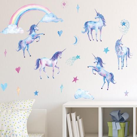 Dessin animé arc-en-ciel licorne chambre porche salon mur décoratif stickers muraux NHAF366708's discount tags