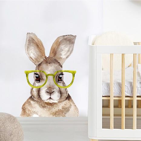nouveau lapin de dessin animé portant des lunettes stickers muraux décoratifs NHAF366709's discount tags