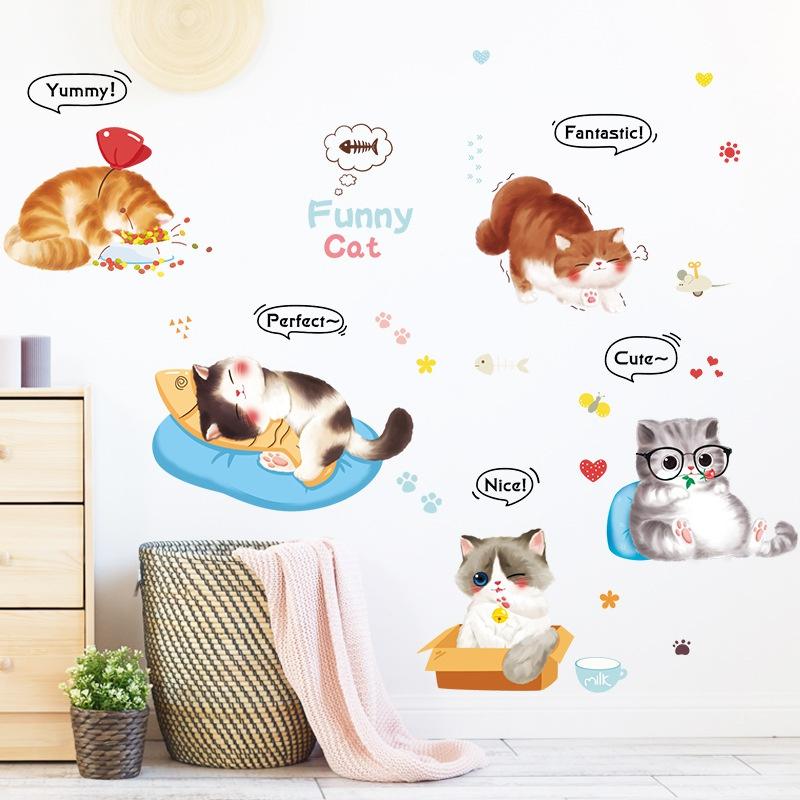 new cartoon handpainted cute cat decoration sticker NHAF366722