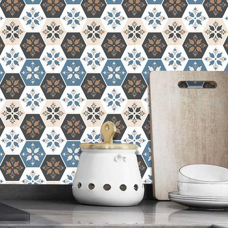 Stickers muraux motif bleu carreaux de céramique cuisine salle de bain dortoir salle à manger décoration stickers muraux NHAF366724's discount tags