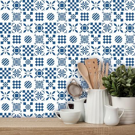 stickers muraux carreaux géométriques bleus à la mode NHAF366727's discount tags