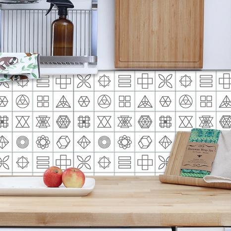 autocollants muraux de salle de bain de cuisine de carreaux géométriques blancs à la mode NHAF366728's discount tags