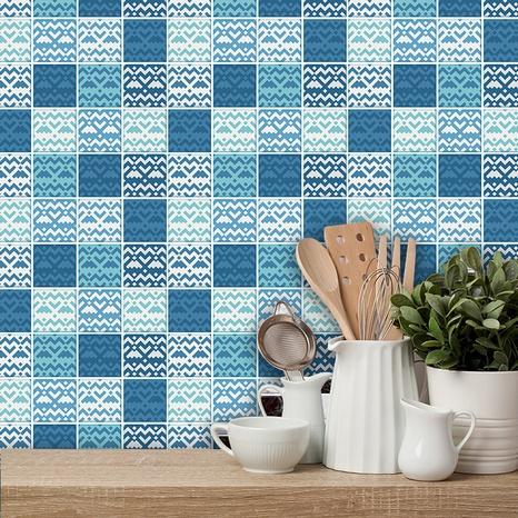 stickers muraux de décoration de carreaux de treillis bleu de couleur contrastée simple NHAF366730's discount tags