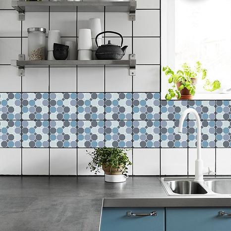 stickers muraux simples de décoration de carreaux de treillis bleu et gris NHAF366731's discount tags