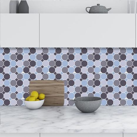 stickers muraux de décoration de carreaux de treillis gris et bleu à la mode NHAF366732's discount tags