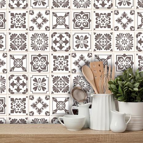 Stickers muraux de décoration de carreaux géométriques couleur café à la mode NHAF366738's discount tags