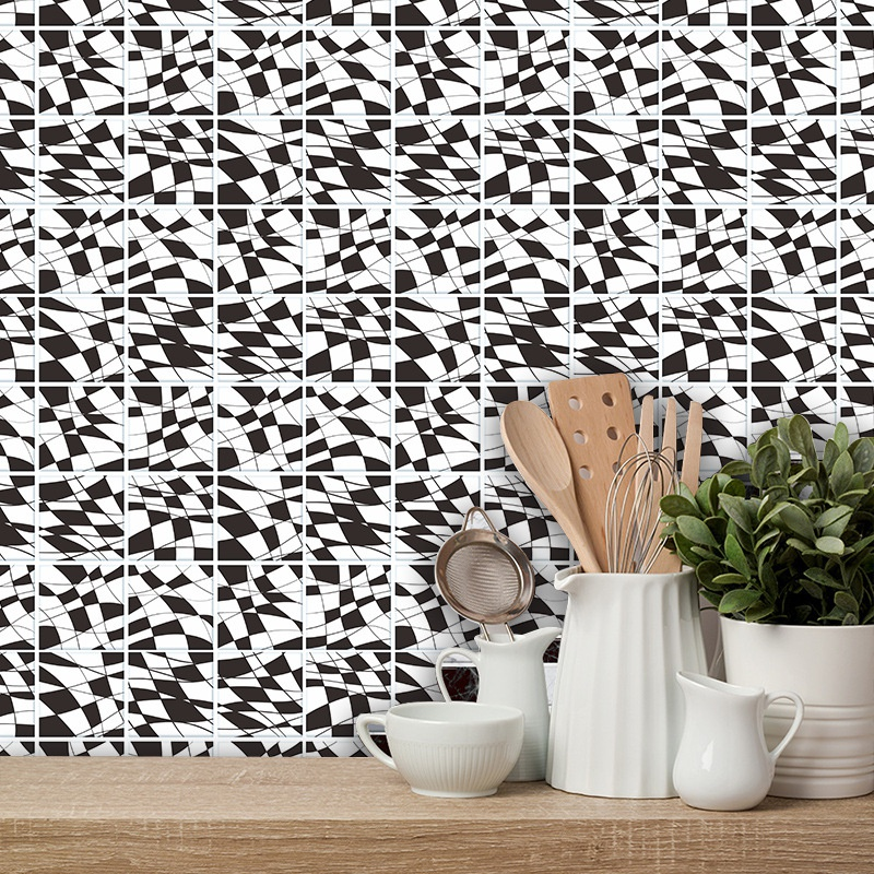 retro black and white pattern tile wall floor decoration stickers NHAF366751