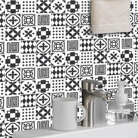 Stickers muraux de décoration de carreaux géométriques de couleur contrastée à la mode NHAF366749's discount tags