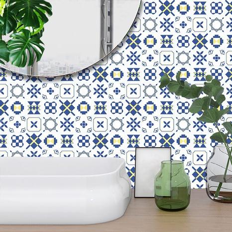 autocollants muraux de décoration de carreaux géométriques bleus blancs à la mode NHAF366753's discount tags
