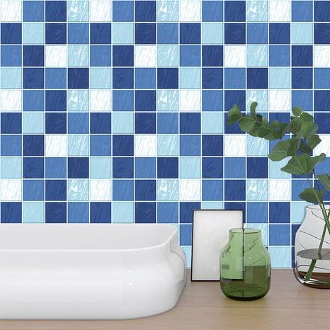 Stickers muraux de décoration de carreaux de treillis bleu de couleur contrastée à la mode NHAF366754's discount tags