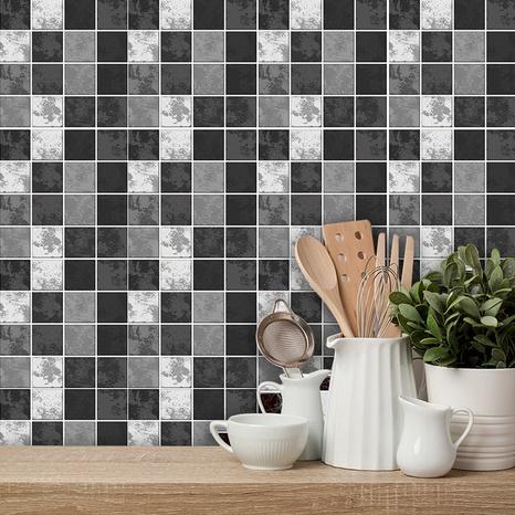 autocollants muraux de carreaux de treillis gris noir de couleur contrastée à la mode NHAF366757's discount tags