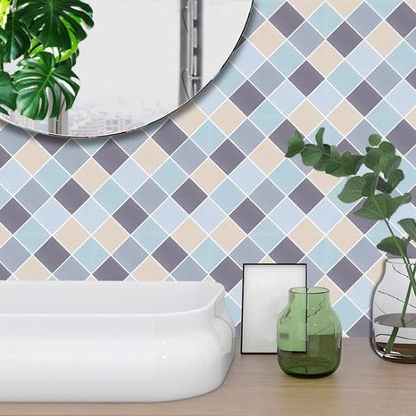 stickers muraux de carreaux de treillis géométrique bleu et gris à la mode NHAF366763's discount tags