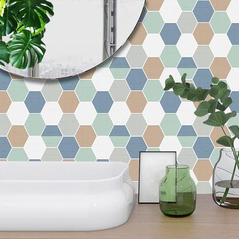 autocollants muraux simples en carreaux de treillis hexagonal bleu et vert NHAF366764's discount tags