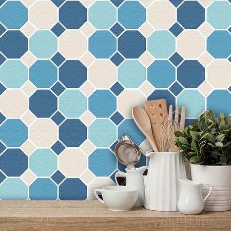 autocollants muraux de carreaux de treillis géométrique de couleur contrastée à la mode NHAF366768's discount tags