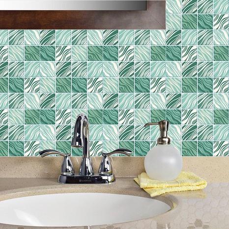 Stickers muraux de décoration de carreaux de treillis à rayures vertes à la mode NHAF366774's discount tags