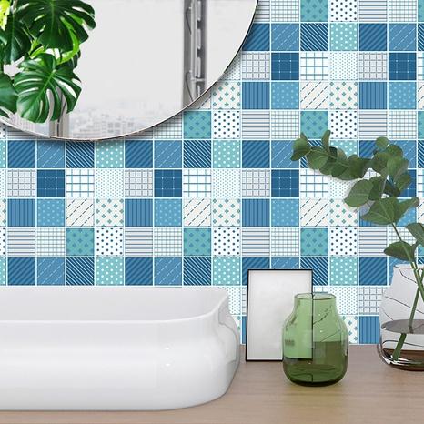 autocollants muraux de carreaux de treillis géométrique de couleur contrastée à la mode NHAF366775's discount tags