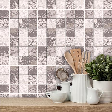 Stickers muraux simples de décoration de carreaux de treillis géométrique de couleur café NHAF366776's discount tags