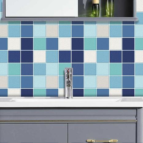 autocollants muraux de carreaux de treillis carré bleu blanc noir à la mode NHAF366778's discount tags
