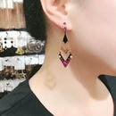 fashion titanium steel inlay mixed gems geometric earrings NHBOJ368688