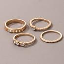 simple golden hollow crescent diamond ring 4piece set NHGY368696