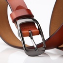 simple square buckle full cowhide leather belt    NHJN366858