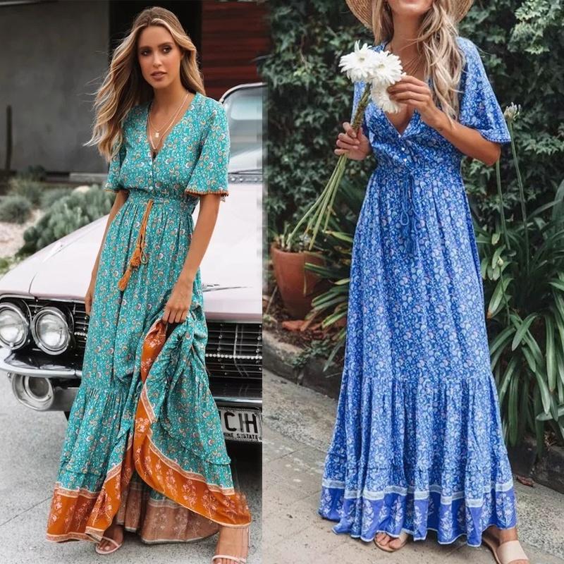 fashion Vneck laceup print swing long dress NHUO368878