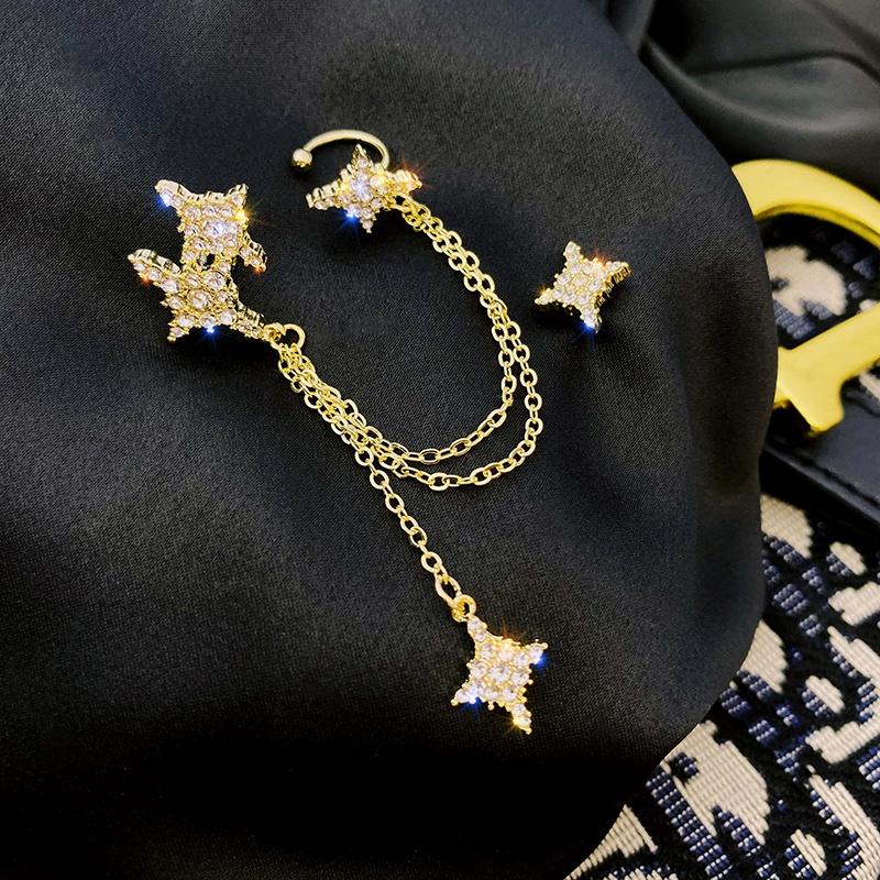 Asymmetric full diamond star tassel ear bone clip  NHOT368698