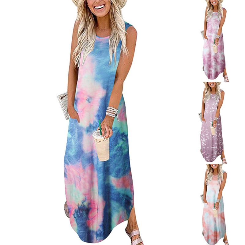 TieDye Printed Round Neck Loose Sleeveless Dress NHUO368854