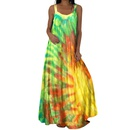 Fashion Sleeveless Contrast Color Printed Halter Long Dress NHUO368902