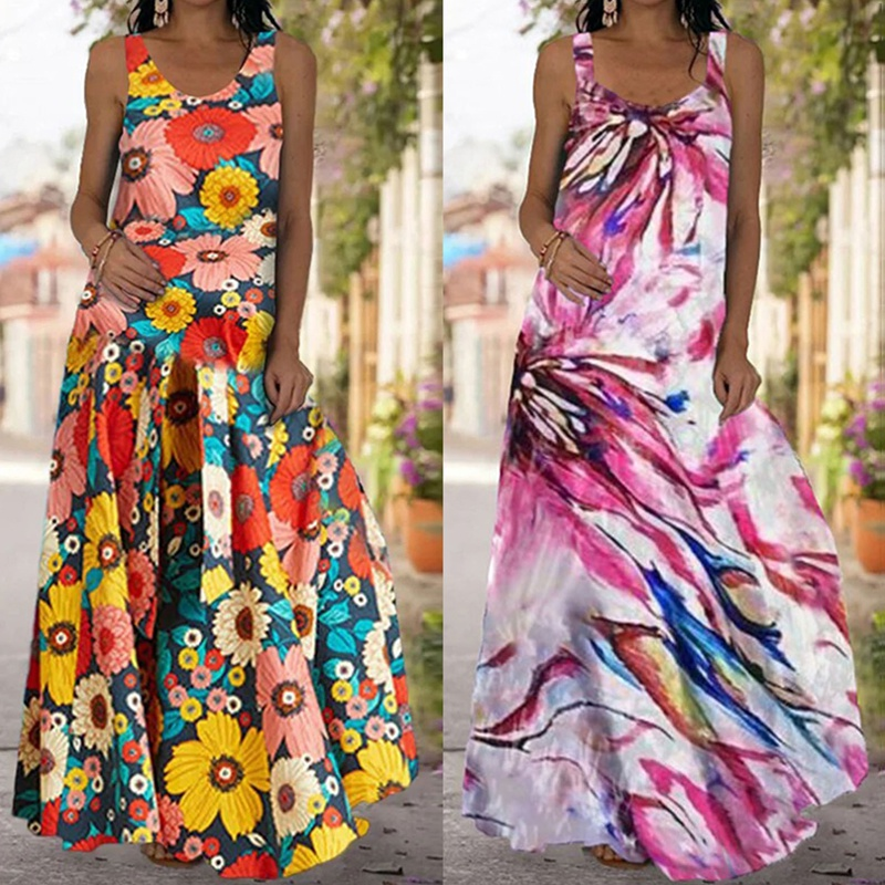 simple contrast color sleeveless print backless long dress NHUO368904