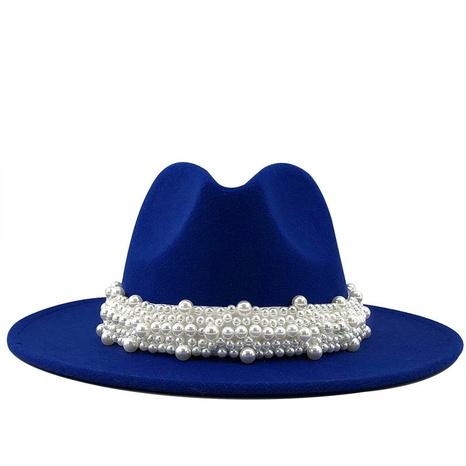 moda elegante perla sombrero de lana de ala grande NHXV366921's discount tags