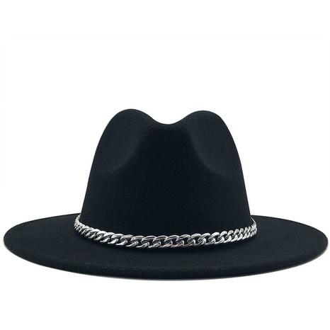sombrero de copa de lana con cadena de metal de color sólido retro NHXV366924's discount tags