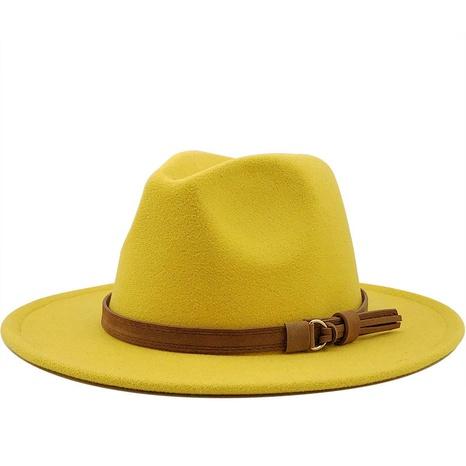 sombrero de lana de ala grande con cinturón de gamuza simple NHXV366922's discount tags