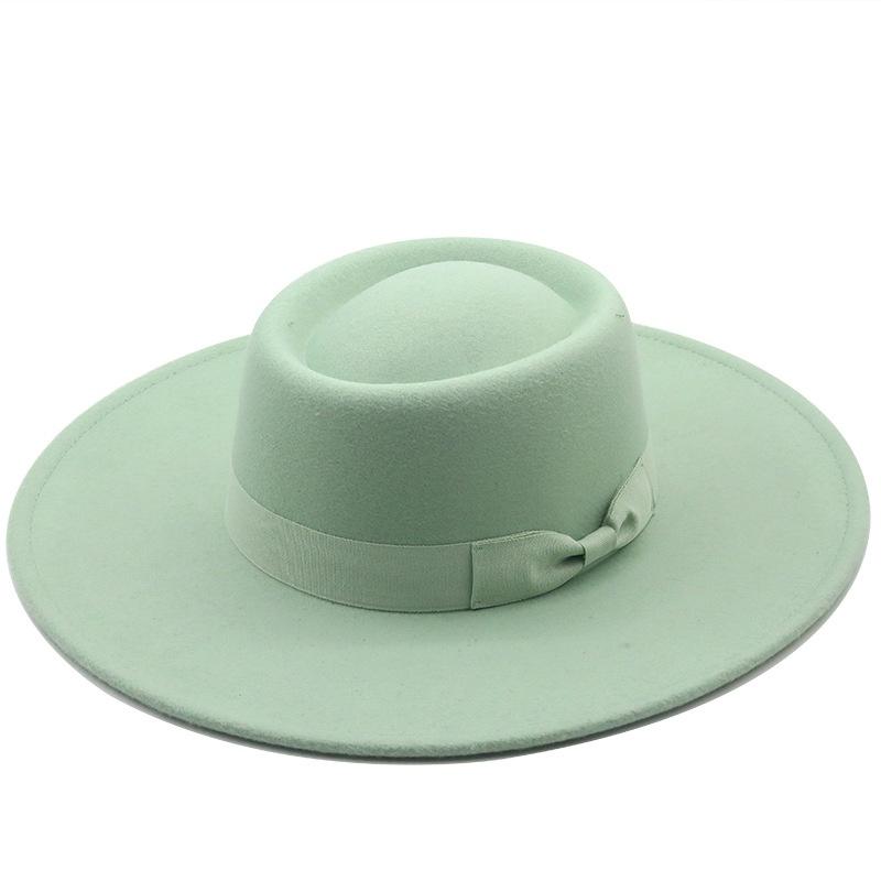 fashion big brim concave top woolen cloth hat  NHXV366927