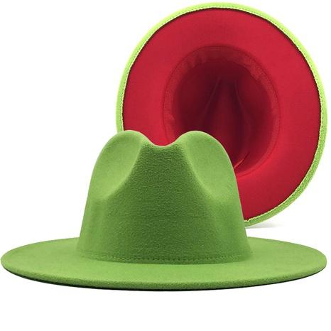 Sombrero de jazz rojo interior verde fruta de lana retro NHXV366929's discount tags