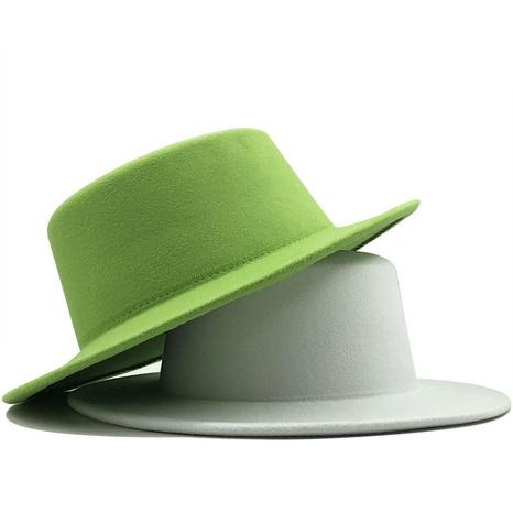 sombrero casual de jazz de lana con parte superior plana de color puro NHXV366933's discount tags