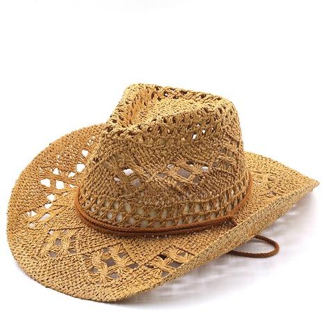 sombrero de paja tejido a mano de vaquero de protección solar de moda NHXV366940's discount tags