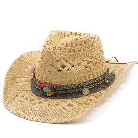 sombrero de paja de vaquero tejido a mano natural de moda NHXV366942's discount tags