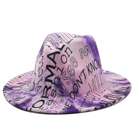Sombrero de lana de ala grande con impresión digital de letra retro NHXV366943's discount tags