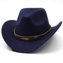 Fashion metal leaf belt cowboy woolen hat NHXV366946