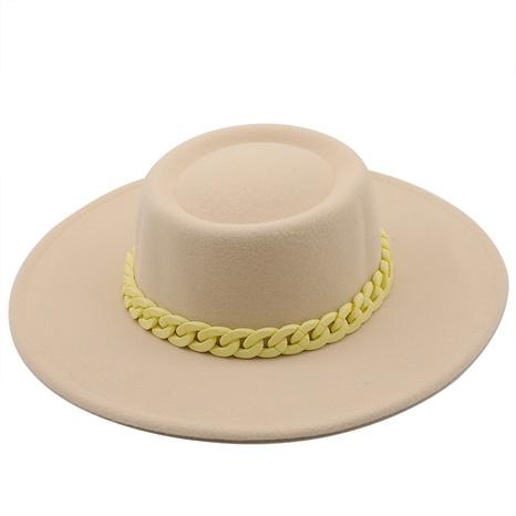 Sombrero de fieltro de ala grande con cadena de tela de lana de otoño e invierno retro NHXV366947's discount tags