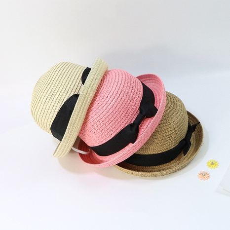 fashion sunscreen bowknot children straw hat wholesale NHTQ365064's discount tags