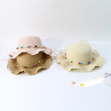 fashion sunscreen color bead wave lace big cornice children's straw hat  NHTQ365065's discount tags