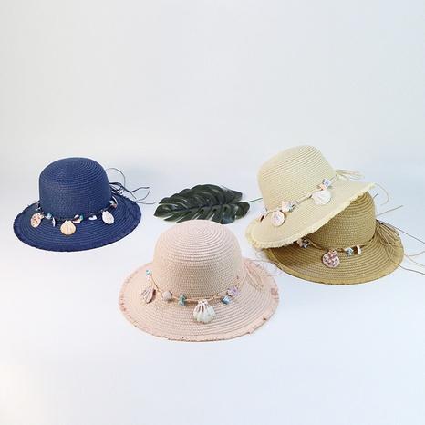 Sombreros de paja para niños con borde crudo de estilo coreano NHTQ365061's discount tags