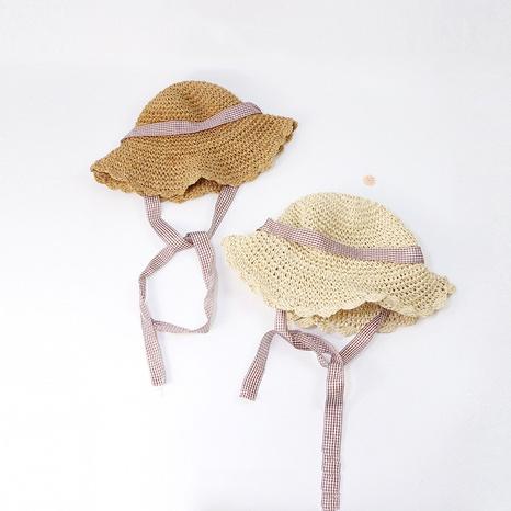 Korean style parent-child hand crochet hollow lattice bow strap straw hat  NHTQ365059's discount tags