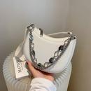 simple solid color metal chain saddle bag NHLH366990