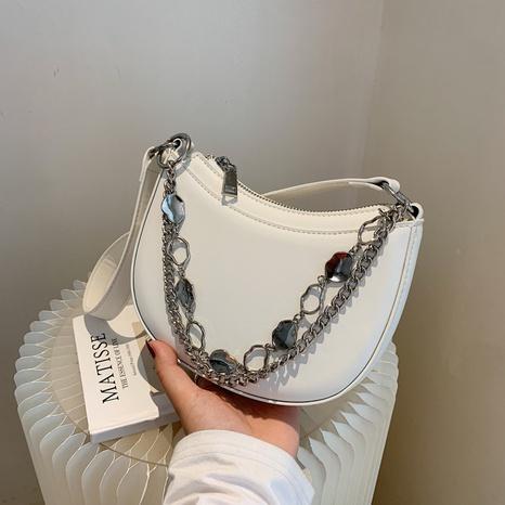 bolso de mano simple con cadena de metal de color sólido NHLH366990's discount tags