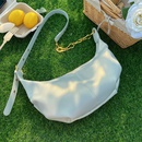 Simple metal chain soft leather shoulder bag NHLH366993