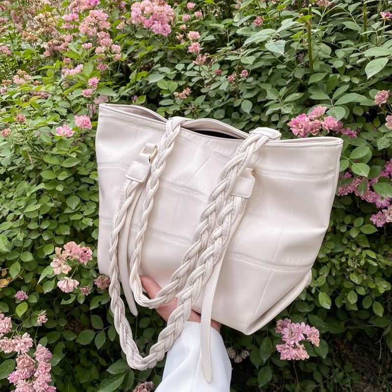 Simple stone texture twist braided rope oneshoulder underarm bag  NHLH367004