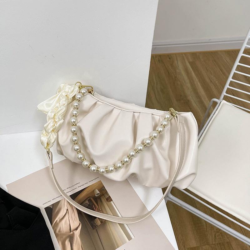 fashion silk scarf pearl chain fold messenger cloud bag NHLH367061